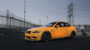 Bmw M3 E92 Orange And Power Lines View Wallpaper Download Free