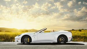 Sun Sky And White Ferrari Field View Download HD Wallpaper