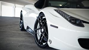 White Ferrari 458 Front Light And Tyre Close Up HD Image Free Wallpaper