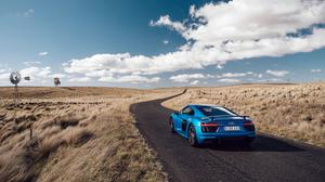 Blue Audi R8 V10 Side View Road Grass HQ Image Free Wallpaper