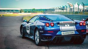 Metallic Blue Ferrari Car Racing View Wallpaper File HD