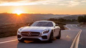 Road Sunset View Of Mercedes Benz Amg Gt Free Transparent Image HQ