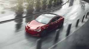Red Tesla Model S Electric Car, City Curve Free Download Image