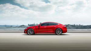 Red Tesla Model S Electric Car Speed Free HQ Image