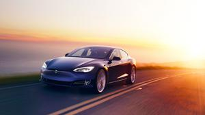 Tesla Model S Electric Car, Road, Sunset Free HD Image