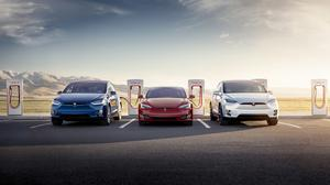 Tesla Model S And X Electric Cars Supercharger Free Transparent Image HD