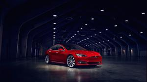 Tesla Model S Electric Car Red Free HQ Image