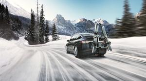 Tesla Model X Suv Electric Car, Winter Ski Free Download Wallpaper HQ