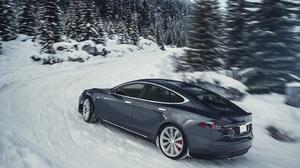 Tesla Model S Electric Car Grey, Winter Free Transparent Image HQ