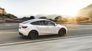 Tesla Model Y Electric Car White, Sunset Free Download Wallpaper HQ