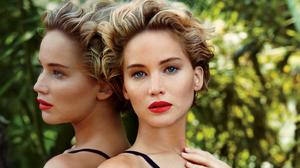 Jennifer Lawrence Red Lipstick Reflection Free Photo Wallpaper