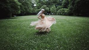 Woman In Dress Spinning Around Download Free Image