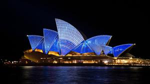 Blue Light Show Opera House Sydney City Free Download Wallpaper HQ