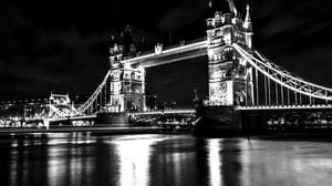Monochrome Photo Of London Tower Bridge Free Wallpaper HQ