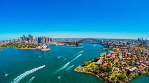 View Of Sydney City Buildings Bridge And Boats Free HD Image