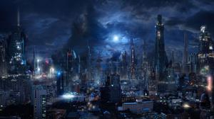 Sci Fi Night City Wallpaper Free Photo