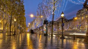 Paris Night Street Free Photo Wallpaper