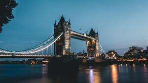 Illuminated Tower Bridge London Evening Free Wallpaper HQ
