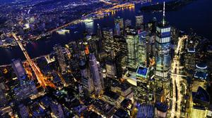 New York Manhattan Arial Night View Free Wallpaper HQ