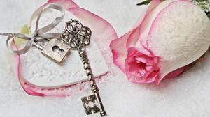 Rose With Heart Lock And Key Free Download Wallpaper HD