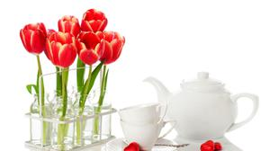 Tulips In Bottles And Tea Set Image Wallpaper Free Photo
