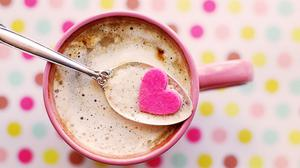 Heart Cutout On Spoon With Coffee Cup Wallpaper Image High Quality