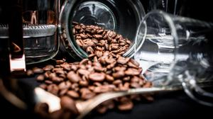 Coffee Beans Spilling Out Of Glass Jar Wallpaper Image High Quality