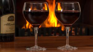 Red Wine Drinks And Log Fire Free Transparent Image HD