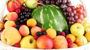 Fruits Basket Grapes Watermelon Peaches Apples Download Free Image