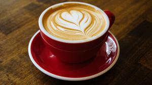 Cappuccino Heart Art Red Cup Free HD Image