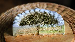 Cut Cake On Wooden Plate HD Image Free Wallpaper