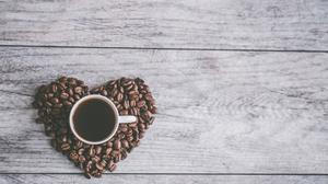 Coffee Filled Mug On Heart Shaped Coffee Beans Download HD Wallpaper
