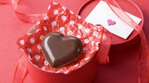 Gift Heart Chocolate With Red Background Theme Free HD Image