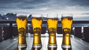Sky View And Beer Drink Alcohol Glasses Free HD Image