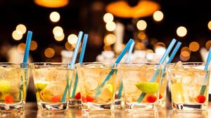 Cocktails Drinking Glass With Bokeh Background Free Transparent Image HD
