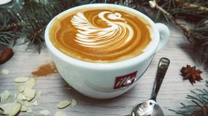 White Cappuccino With Swan Cream Design HD Image Free Wallpaper