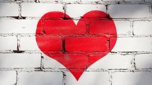 Red Heart On Bricks Wall Free Transparent Image HD