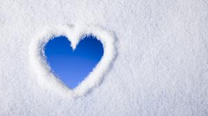 Love Heart With Snow Wallpaper Download Free