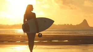 Girl With Surfboard In Dawn Download HD Wallpaper