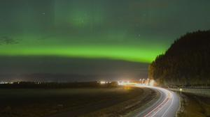 Aurora And Road Night View Wallpaper File HD