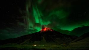Volcano And Aurora View Hd Download HQ Wallpaper