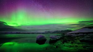 Lake Ice And Aurora Nature View Free Download Image