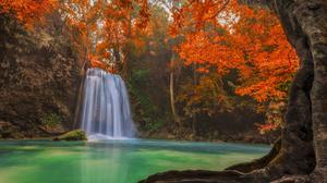 Thailand Waterfall Pond Trees View Download Free Image