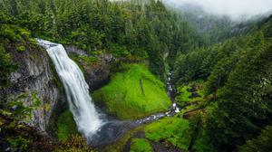 Valley Waterfall Mountains View Wallpaper Image High Quality