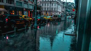 Cityscape Vehicles Road Buildings During Rain Free Transparent Image HQ