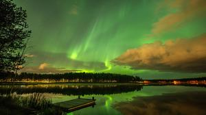 Lake Aurora Lights Reflection Night View Free HQ Image