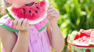 Girl Eating Sliced Watermelon HD Image Free Wallpaper