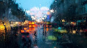Rain Cityscape Water On Glass Bokeh Wallpaper Free Photo