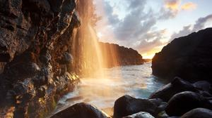 Sunlight Rays Reflection Waterfall And Rocks View Free Download Image