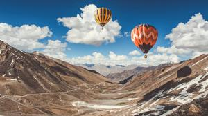 Air Balloon Ride In Leh Mountains Free Transparent Image HQ